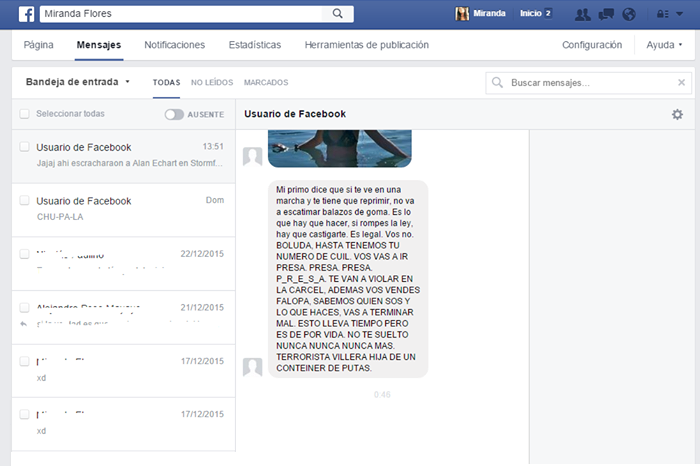Amenaza neonazis Facebook Miranda Flores
