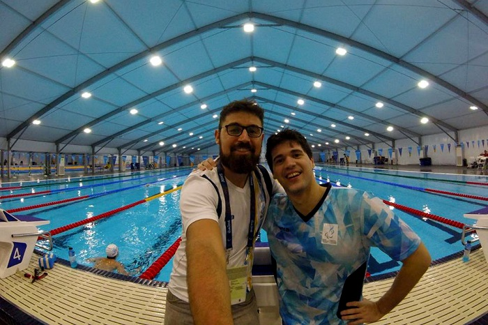 Matías De Andrade y su entrenador Ezequiel Valdez