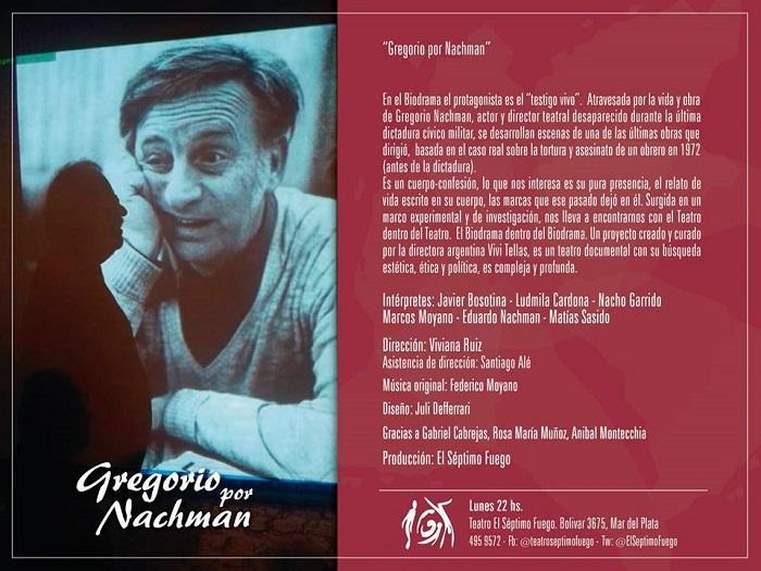 [teatro] GREGORIO POR NACHMAN @ El Séptimo Fuego | Mar del Plata | Buenos Aires | Argentina