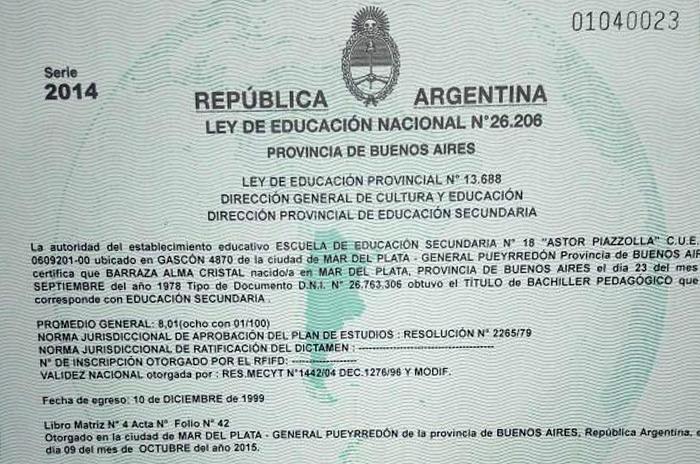 Modelo de certificado de estudios secundarios argentina