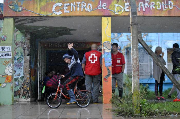 Temporal: cómo trabaja la Cruz Roja en Mar del Plata