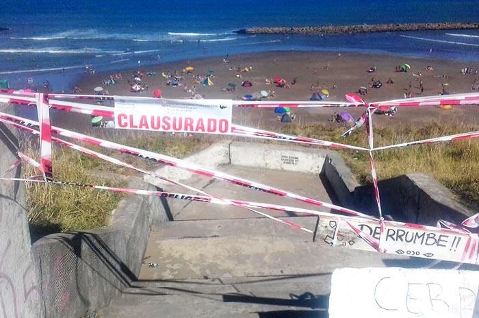 Acantilados: clausuraron acceso público por un desmoronamiento