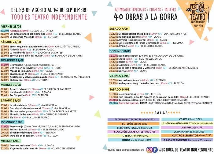 ATTRA Grilla Actualizada Festival de Teatro Independiente
