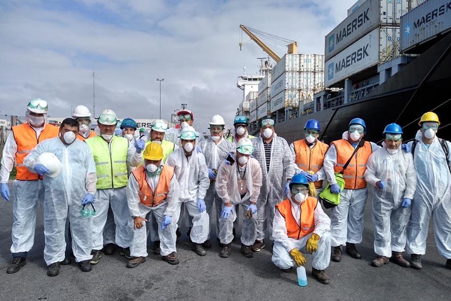 Puerto: llegó un portacontenedores y activaron un protocolo sanitario para descargarlo