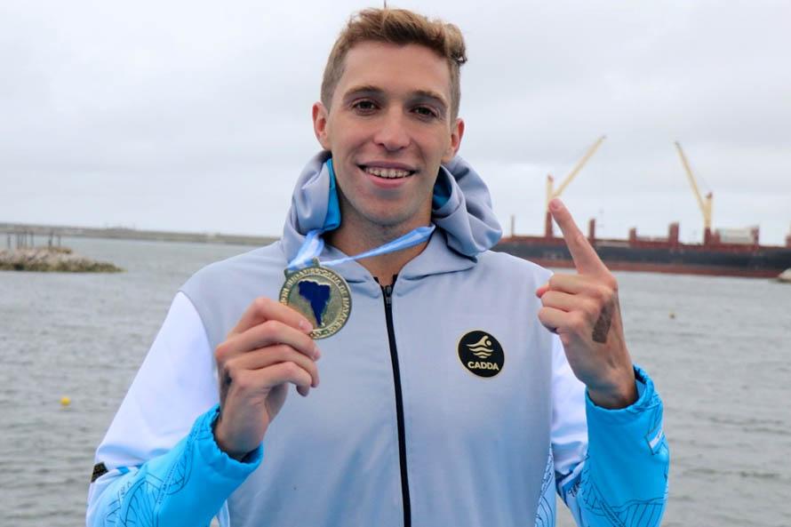 Ivo Cassini, campeón sudamericano de aguas abiertas en Mar del Plata
