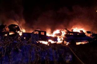 Diez autos afectados por un incendio en el predio de Garay y Tres Arroyos
